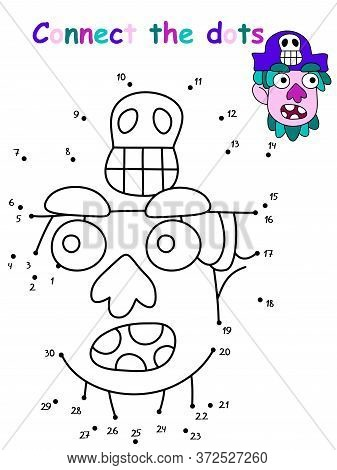 Amusing Dot To Dot Educational Pirate Game. Connect The Dots With Numbers Cartoon Pirate Head With G