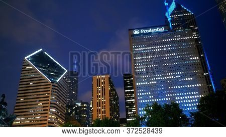 Chicago By Night Prudential Building - Chicago, Illinois - June 20, 2019
