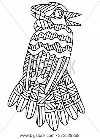 Blue Jay Stylization Coloring Book Page. Wood Spring Wild Bird. Song Bird Stock Vector Illustration.