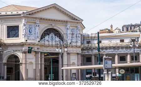 Genoa, Italy - August 20, 2019: Piazza Principe Train Station In Piazza Acquaverde Square In Genoa,