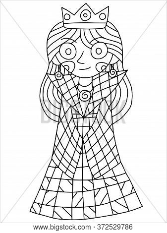 Smile Queen Coloring Book Page, Stylized Cartoon Royal Female With Crown And Checkered Coat. Cartoon