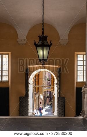 Genoa, Italy - August 20, 2019: Entrance In The Palazzo Doria Tursi In Garibaldi Street Is A City Ha