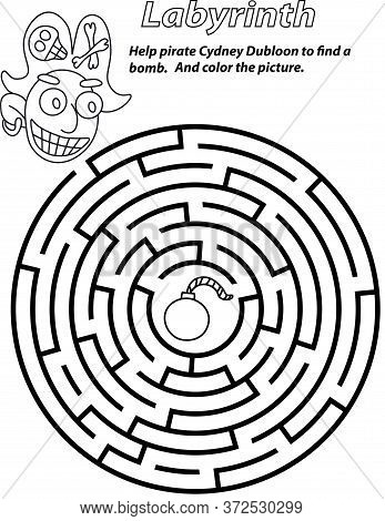 Labyrinth With Pirate. Black And White Circle Maze Stock Vector Illustration. Cartoon Smile Pirat An