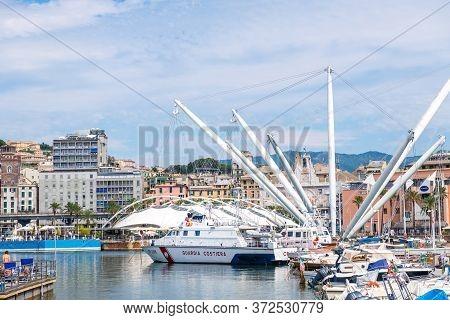 Genoa, Italy - August 20, 2019: Il Grande Bigo In Porto Antico Di Genova Or Old Port Of Genoa, Ligur