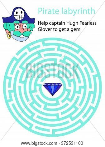 Help Captain Hugh Fearless Glover To Get A Gem. Friendly Smiling Pirate Looking For Blue Brilliant I