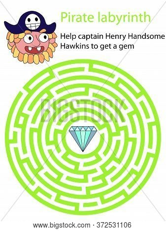 Help Captain Henry Handsome Hawkins To Get A Gem. Colorful Circle Maze With Pirate And Brilliant. Ed