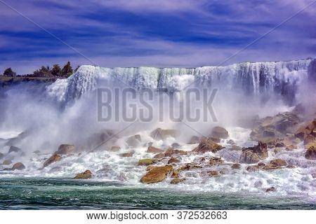 Beautiful Niagara Falls On A Clear Sunny Day.