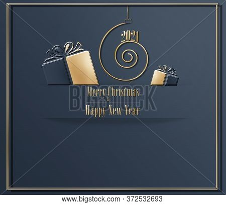 Elegant Luxury Stylish 2021 Merry Christmas Happy New Year Card In Dark Blue Colour With Golden Gift