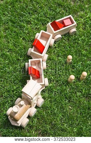 Children's Wooden Toys. Children Wooden  Train With Wagons. Natural Wood Construction Set. Education