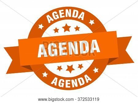 Agenda Ribbon. Agenda Round Orange Sign. Agenda