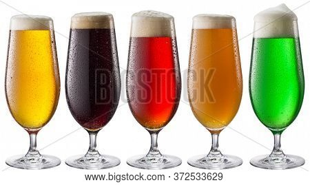 Collection of five types of different beer in glasses isolated on a white background. Each beer glass contains a clipping path.