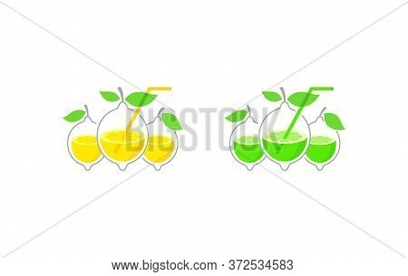 Vector Concept In Lemon And Lime Form For Cool Drinks, Lemonades And Cocktails