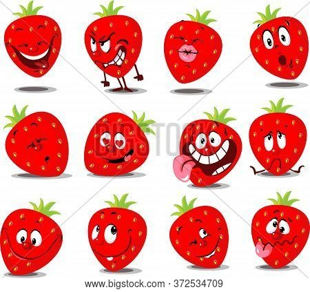 Strawberry Emoticon - Flat Vector Illustration With Many Expression