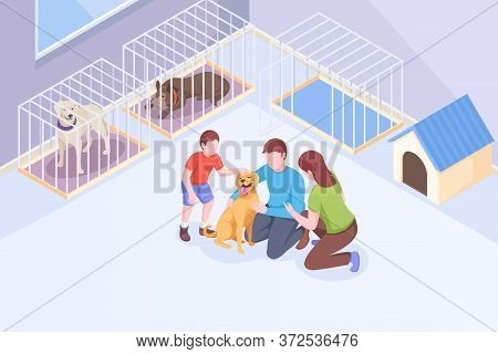 Pet Adoption, Family Plays With Dog At Animal Shelter, Vector Isometric Illustration. Family Mother