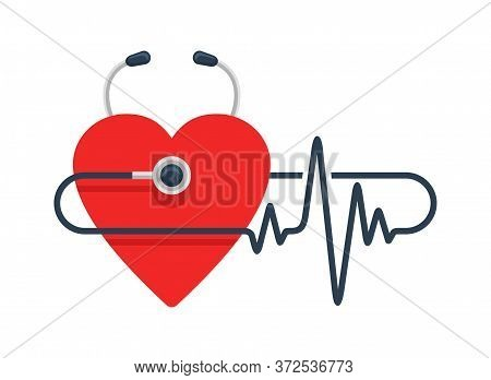 Cardiology Icon Or Logo Template - Stethoscope Monitoring Heartbeat (pulse), Heart Shape And Cardiog