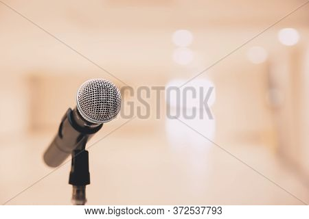 Microphone On The Stand For Public Speaking,welcoming Or Congratulations Speech For Work Success Bac