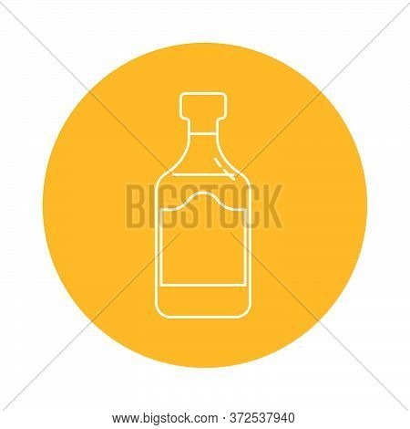 Illustration Of Bottle Of Rum In Flat Style In Form Of Thin Lines. In The Form Of Background Is Circ