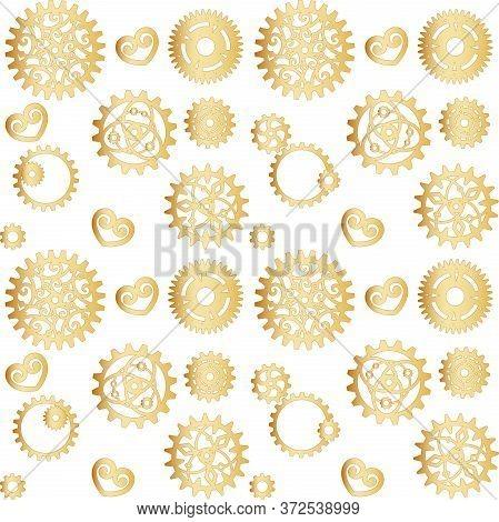 Golden Openwork Gears On A White Background. Mechanism, Steampunk, Retro. Vector Seamless Pattern Fo