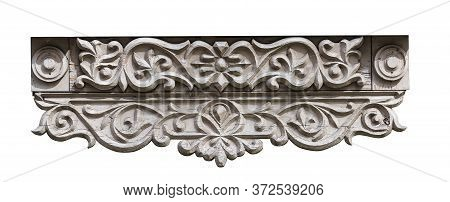 Bottom Detail Of A Wooden Platband Window Of A Traditional Wooden House - Isolated On White