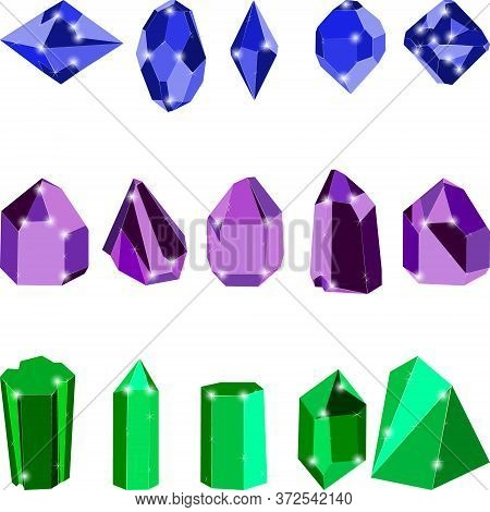 Colorful Crystal Jewels Isolated On White Background. Vector Illustration Of Diamonds. Ruby, Sapphir