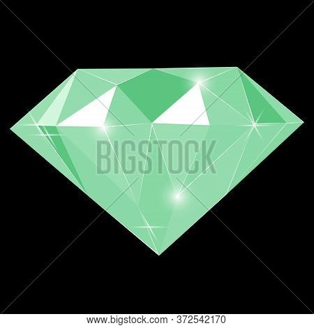Fancy Vivid Green Emerald Diamond Gem Isolated On Black Background. Vector Illustration Jewel Or Pre
