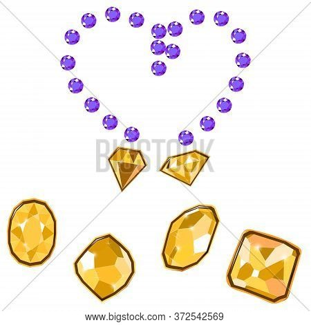 Fancy Vivid Lilac And Yellow Diamond Gems Necklace Isolated On White Background. Vector Illustration