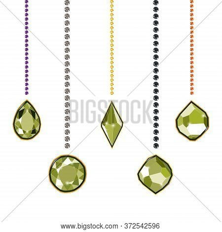Fancy Light Green Diamond Gems And Diamond Chains Isolated On White Background. Vector Illustration