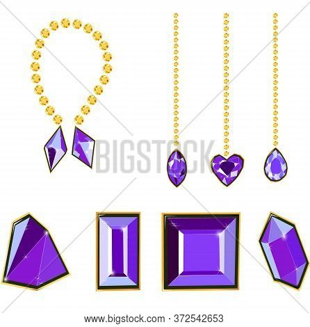 Fancy Vivid Purple Diamond Gems And Diamond Chains Isolated On White Background. Vector Illustration