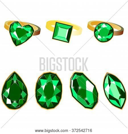 Fancy Vivid Emerald Diamond Gems And Golden Rings Isolated On White Background. Vector Illustration