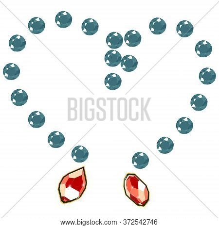 Fancy Vivid Green Diamond Gems Necklace Isolated On White Background. Vector Illustration Jewels Or