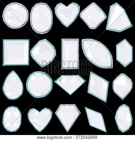 White Diamond Gems Isolated On Black Background. Vector Illustration Jewels Or Precious Diamonds Gem