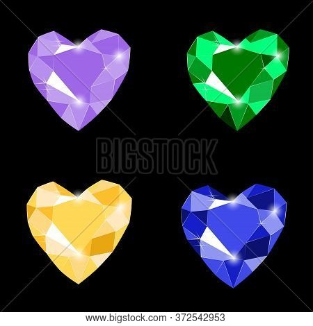 Fancy Vivid Lilac, Emerald, Yellow And Blue Heart Shape Diamond Gems Isolated On Black Background. V