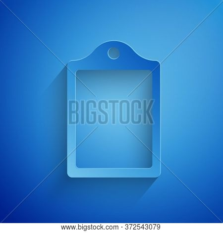 Paper Cut Cutting Board Icon Isolated On Blue Background. Chopping Board Symbol. Paper Art Style. Ve