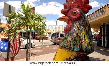 Cock Statue On Calle Ocho Little Havana Miami - Miami, Florida April 10, 2016