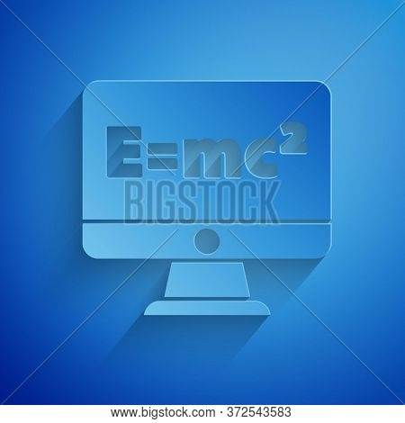 Paper Cut Math System Of Equation Solution On Computer Monitor Icon Isolated On Blue Background. E E