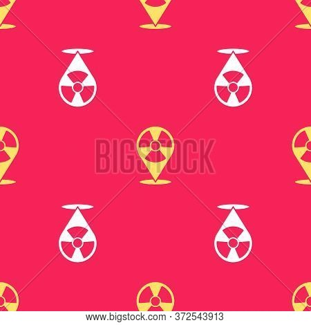 Yellow Radioactive In Location Icon Isolated Seamless Pattern On Red Background. Radioactive Toxic S