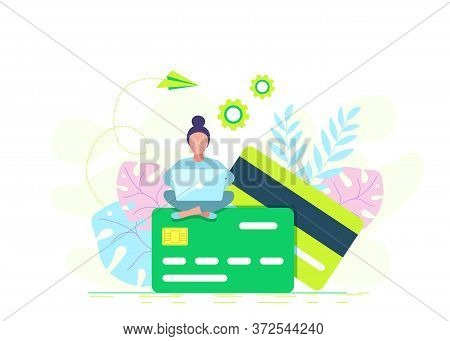 Credit card online payment concept with modern woman using laptop to pay, money terminal, and bill. Business concept. Business people. Business background. Infographic business arrow shape template design. Business background, business concept. business b