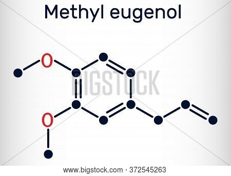 Methyl Eugenol, Allylveratrol, Methyleugenol Molecule. It Is Phenylpropene, A Type Of Phenylpropanoi