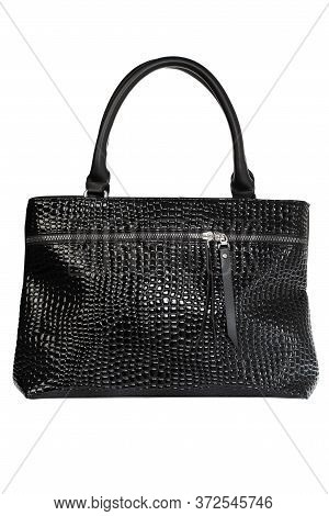 Designer Women's Hand Bag With Lacquered Textured Inserts.isolate Female Bags
