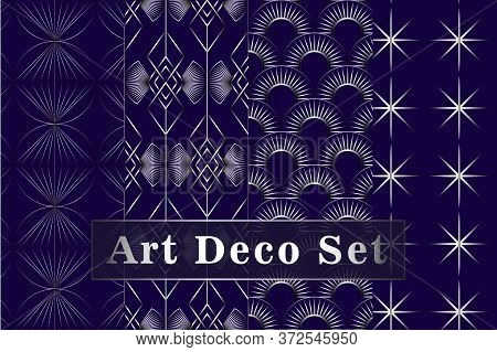 Art Deco Silver Seamless Pattern Isolated Set. Art Deco Pattern Circles On A Blue Background. Vector