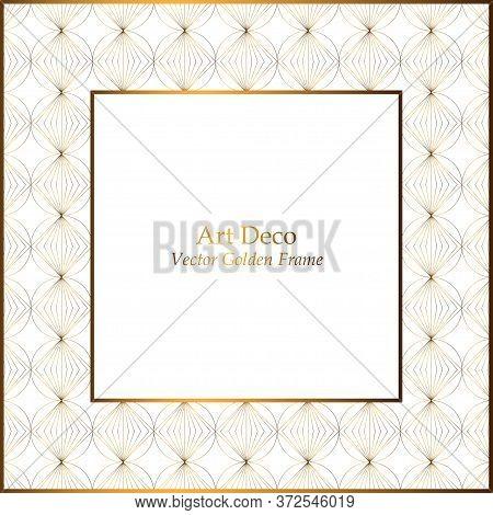 Elegant Art Deco Golden Pattern Frame. Geometric Pattern White Background. Vector Frame For Invitati