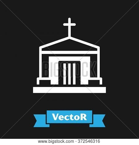 White Old Crypt Icon Isolated On Black Background. Cemetery Symbol. Ossuary Or Crypt For Burial Of D