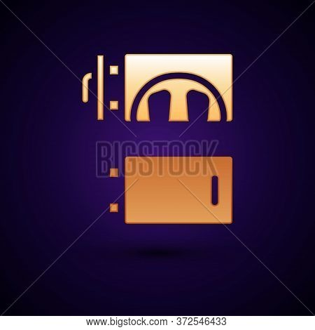 Gold Crematorium Icon Isolated On Black Background. Vector
