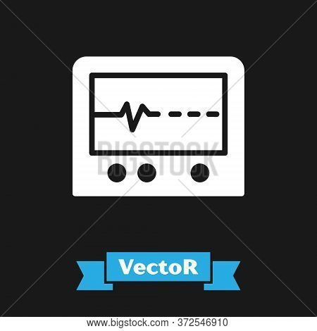 White Beat Dead In Monitor Icon Isolated On Black Background. Ecg Showing Death. Vector