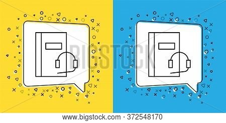 Set Line Audio Book Icon Isolated On Yellow And Blue Background. Book With Headphones. Audio Guide S