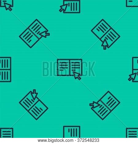 Blue Line Online Book Icon Isolated Seamless Pattern On Green Background. Internet Education Concept