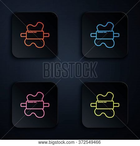 Color Neon Line Rolling Pin On Dough Icon Isolated On Black Background. Set Icons In Square Buttons.