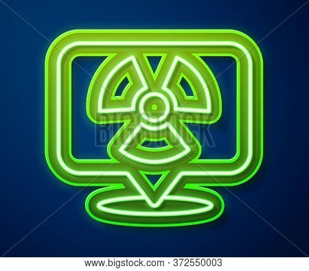 Glowing Neon Line Radioactive In Location Icon Isolated On Blue Background. Radioactive Toxic Symbol