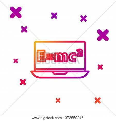 Color Line Math System Of Equation Solution On Laptop Icon Isolated On White Background. E Equals Mc