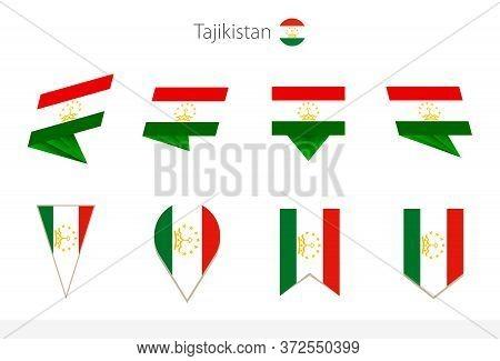 Tajikistan National Flag Collection, Eight Versions Of Tajikistan Vector Flags. Vector Illustration.